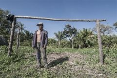 A peasant as a goalkeeper in Tierra Prometida (Promised Land), an agro ecological community in Santa Cruz Department. Bolivia